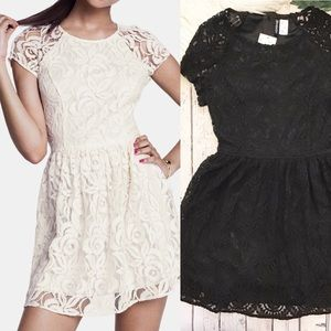 H&M DIVIDED black Lace skater dress NWT Size 8